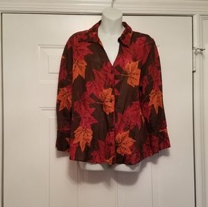 Coldwater Creek Large Long Sleeve Top leaves fall